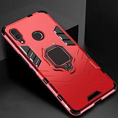 Silikon Hülle Handyhülle und Kunststoff Schutzhülle Tasche mit Magnetisch Fingerring Ständer Z01 für Xiaomi Redmi 7 Rot