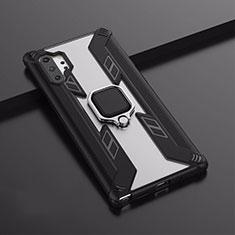 Silikon Hülle Handyhülle und Kunststoff Schutzhülle Tasche mit Magnetisch Ständer A02 für Samsung Galaxy Note 10 Plus 5G Schwarz