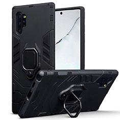 Silikon Hülle Handyhülle und Kunststoff Schutzhülle Tasche mit Magnetisch Ständer A03 für Samsung Galaxy Note 10 Plus Schwarz