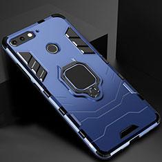 Silikon Hülle Handyhülle und Kunststoff Schutzhülle Tasche mit Magnetisch Ständer für Huawei Enjoy 8e Blau