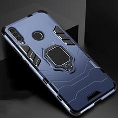 Silikon Hülle Handyhülle und Kunststoff Schutzhülle Tasche mit Magnetisch Ständer für Huawei Enjoy 9s Blau