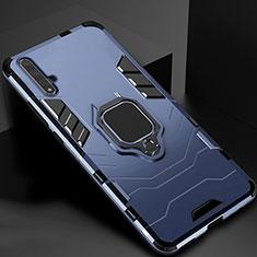 Silikon Hülle Handyhülle und Kunststoff Schutzhülle Tasche mit Magnetisch Ständer für Huawei Honor 20 Blau