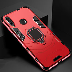 Silikon Hülle Handyhülle und Kunststoff Schutzhülle Tasche mit Magnetisch Ständer für Huawei Honor 20 Lite Rot
