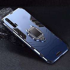 Silikon Hülle Handyhülle und Kunststoff Schutzhülle Tasche mit Magnetisch Ständer für Huawei Honor 20 Pro Blau