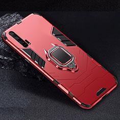 Silikon Hülle Handyhülle und Kunststoff Schutzhülle Tasche mit Magnetisch Ständer für Huawei Honor 20 Pro Rot