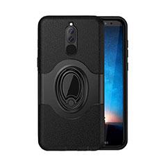Silikon Hülle Handyhülle und Kunststoff Schutzhülle Tasche mit Magnetisch Ständer für Huawei Mate 10 Lite Schwarz