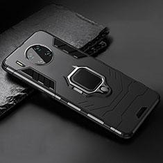 Silikon Hülle Handyhülle und Kunststoff Schutzhülle Tasche mit Magnetisch Ständer für Huawei Mate 30 5G Schwarz