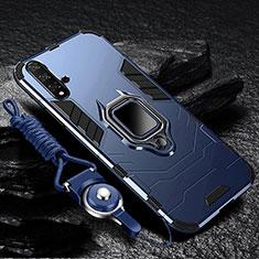 Silikon Hülle Handyhülle und Kunststoff Schutzhülle Tasche mit Magnetisch Ständer für Huawei Nova 5 Blau