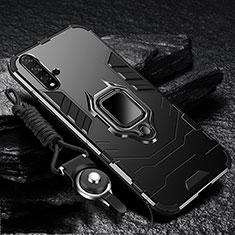 Silikon Hülle Handyhülle und Kunststoff Schutzhülle Tasche mit Magnetisch Ständer für Huawei Nova 5 Schwarz