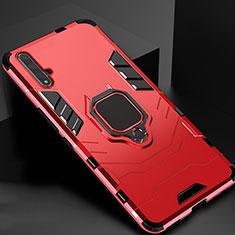 Silikon Hülle Handyhülle und Kunststoff Schutzhülle Tasche mit Magnetisch Ständer für Huawei Nova 5T Rot