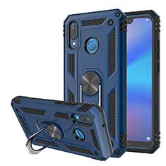Silikon Hülle Handyhülle und Kunststoff Schutzhülle Tasche mit Magnetisch Ständer für Huawei P20 Lite Blau