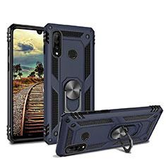 Silikon Hülle Handyhülle und Kunststoff Schutzhülle Tasche mit Magnetisch Ständer für Huawei P30 Lite Blau