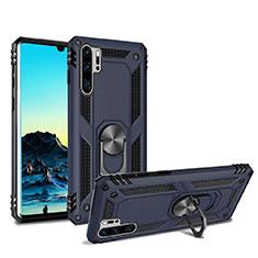 Silikon Hülle Handyhülle und Kunststoff Schutzhülle Tasche mit Magnetisch Ständer für Huawei P30 Pro Blau