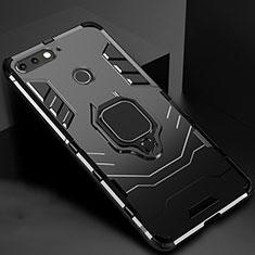 Silikon Hülle Handyhülle und Kunststoff Schutzhülle Tasche mit Magnetisch Ständer für Huawei Y6 Prime (2018) Schwarz