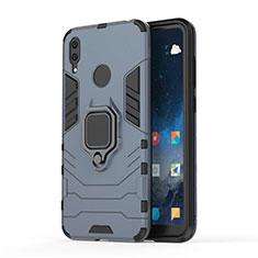 Silikon Hülle Handyhülle und Kunststoff Schutzhülle Tasche mit Magnetisch Ständer für Huawei Y7 (2019) Blau