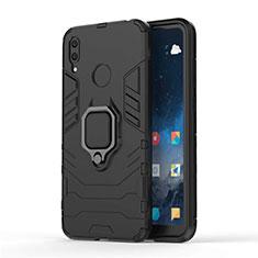 Silikon Hülle Handyhülle und Kunststoff Schutzhülle Tasche mit Magnetisch Ständer für Huawei Y7 Pro (2019) Schwarz