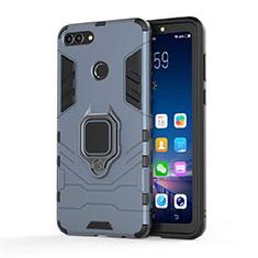 Silikon Hülle Handyhülle und Kunststoff Schutzhülle Tasche mit Magnetisch Ständer für Huawei Y9 (2018) Blau