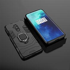 Silikon Hülle Handyhülle und Kunststoff Schutzhülle Tasche mit Magnetisch Ständer für OnePlus 7T Pro Schwarz