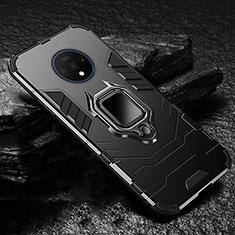 Silikon Hülle Handyhülle und Kunststoff Schutzhülle Tasche mit Magnetisch Ständer für OnePlus 7T Schwarz