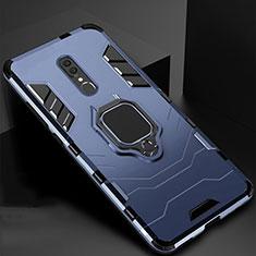 Silikon Hülle Handyhülle und Kunststoff Schutzhülle Tasche mit Magnetisch Ständer für Oppo A9 Blau