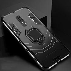 Silikon Hülle Handyhülle und Kunststoff Schutzhülle Tasche mit Magnetisch Ständer für Oppo A9 Schwarz