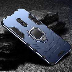 Silikon Hülle Handyhülle und Kunststoff Schutzhülle Tasche mit Magnetisch Ständer für Oppo Realme X Blau