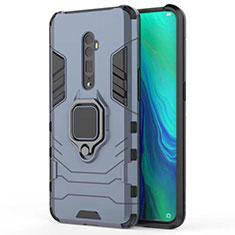 Silikon Hülle Handyhülle und Kunststoff Schutzhülle Tasche mit Magnetisch Ständer für Oppo Reno 10X Zoom Blau