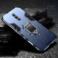 Silikon Hülle Handyhülle und Kunststoff Schutzhülle Tasche mit Magnetisch Ständer für Oppo Reno Blau