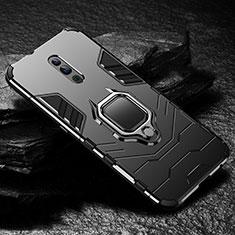 Silikon Hülle Handyhülle und Kunststoff Schutzhülle Tasche mit Magnetisch Ständer für Oppo Reno Schwarz