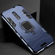 Silikon Hülle Handyhülle und Kunststoff Schutzhülle Tasche mit Magnetisch Ständer für Oppo Reno Z Blau