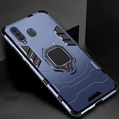 Silikon Hülle Handyhülle und Kunststoff Schutzhülle Tasche mit Magnetisch Ständer für Samsung Galaxy A60 Blau