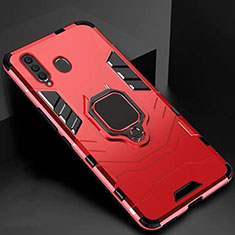 Silikon Hülle Handyhülle und Kunststoff Schutzhülle Tasche mit Magnetisch Ständer für Samsung Galaxy A60 Rot
