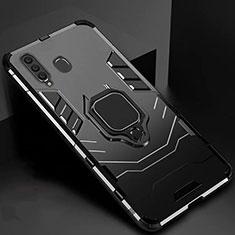 Silikon Hülle Handyhülle und Kunststoff Schutzhülle Tasche mit Magnetisch Ständer für Samsung Galaxy A60 Schwarz