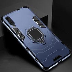 Silikon Hülle Handyhülle und Kunststoff Schutzhülle Tasche mit Magnetisch Ständer für Samsung Galaxy A70 Blau