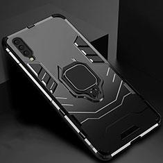 Silikon Hülle Handyhülle und Kunststoff Schutzhülle Tasche mit Magnetisch Ständer für Samsung Galaxy A70 Schwarz