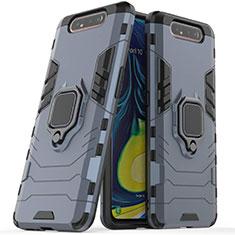 Silikon Hülle Handyhülle und Kunststoff Schutzhülle Tasche mit Magnetisch Ständer für Samsung Galaxy A80 Blau