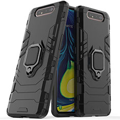 Silikon Hülle Handyhülle und Kunststoff Schutzhülle Tasche mit Magnetisch Ständer für Samsung Galaxy A80 Schwarz