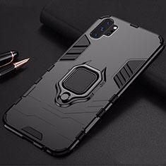 Silikon Hülle Handyhülle und Kunststoff Schutzhülle Tasche mit Magnetisch Ständer für Samsung Galaxy Note 10 Plus 5G Schwarz