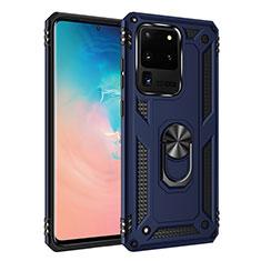 Silikon Hülle Handyhülle und Kunststoff Schutzhülle Tasche mit Magnetisch Ständer für Samsung Galaxy S20 Ultra 5G Blau