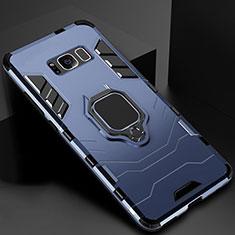 Silikon Hülle Handyhülle und Kunststoff Schutzhülle Tasche mit Magnetisch Ständer für Samsung Galaxy S8 Plus Blau