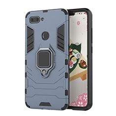 Silikon Hülle Handyhülle und Kunststoff Schutzhülle Tasche mit Magnetisch Ständer für Xiaomi Mi 8 Lite Blau