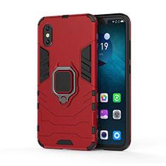 Silikon Hülle Handyhülle und Kunststoff Schutzhülle Tasche mit Magnetisch Ständer für Xiaomi Mi 8 Pro Global Version Rot