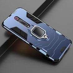 Silikon Hülle Handyhülle und Kunststoff Schutzhülle Tasche mit Magnetisch Ständer für Xiaomi Mi 9T Blau