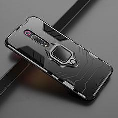 Silikon Hülle Handyhülle und Kunststoff Schutzhülle Tasche mit Magnetisch Ständer für Xiaomi Mi 9T Pro Schwarz