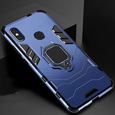 Silikon Hülle Handyhülle und Kunststoff Schutzhülle Tasche mit Magnetisch Ständer für Xiaomi Mi A2 Blau