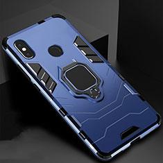 Silikon Hülle Handyhülle und Kunststoff Schutzhülle Tasche mit Magnetisch Ständer für Xiaomi Mi A2 Lite Blau