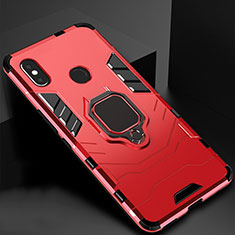 Silikon Hülle Handyhülle und Kunststoff Schutzhülle Tasche mit Magnetisch Ständer für Xiaomi Mi A2 Lite Rot
