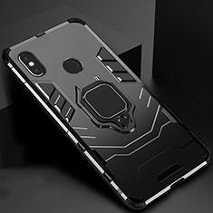 Silikon Hülle Handyhülle und Kunststoff Schutzhülle Tasche mit Magnetisch Ständer für Xiaomi Mi A2 Schwarz