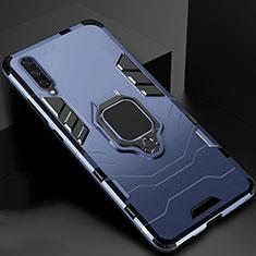Silikon Hülle Handyhülle und Kunststoff Schutzhülle Tasche mit Magnetisch Ständer für Xiaomi Mi A3 Blau