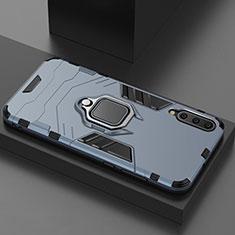 Silikon Hülle Handyhülle und Kunststoff Schutzhülle Tasche mit Magnetisch Ständer für Xiaomi Mi A3 Lite Blau